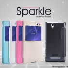 Bao Da Sony Xperia C3 / S55T ( Hiệu NillKin, NEW LEATHER CASE- Sparkle Leather Case )