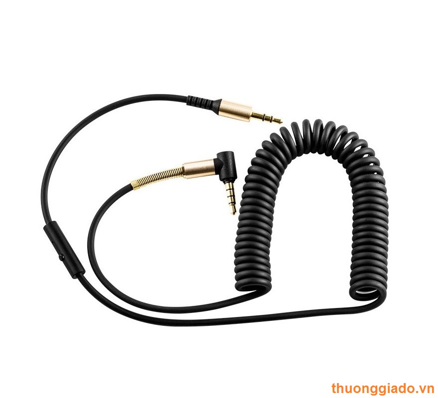 Dây tín hiệu âm thanh 2 đầu chân tròn 3.5mm (xoắn lò xo,max 2 mét, hiệu HOCO)