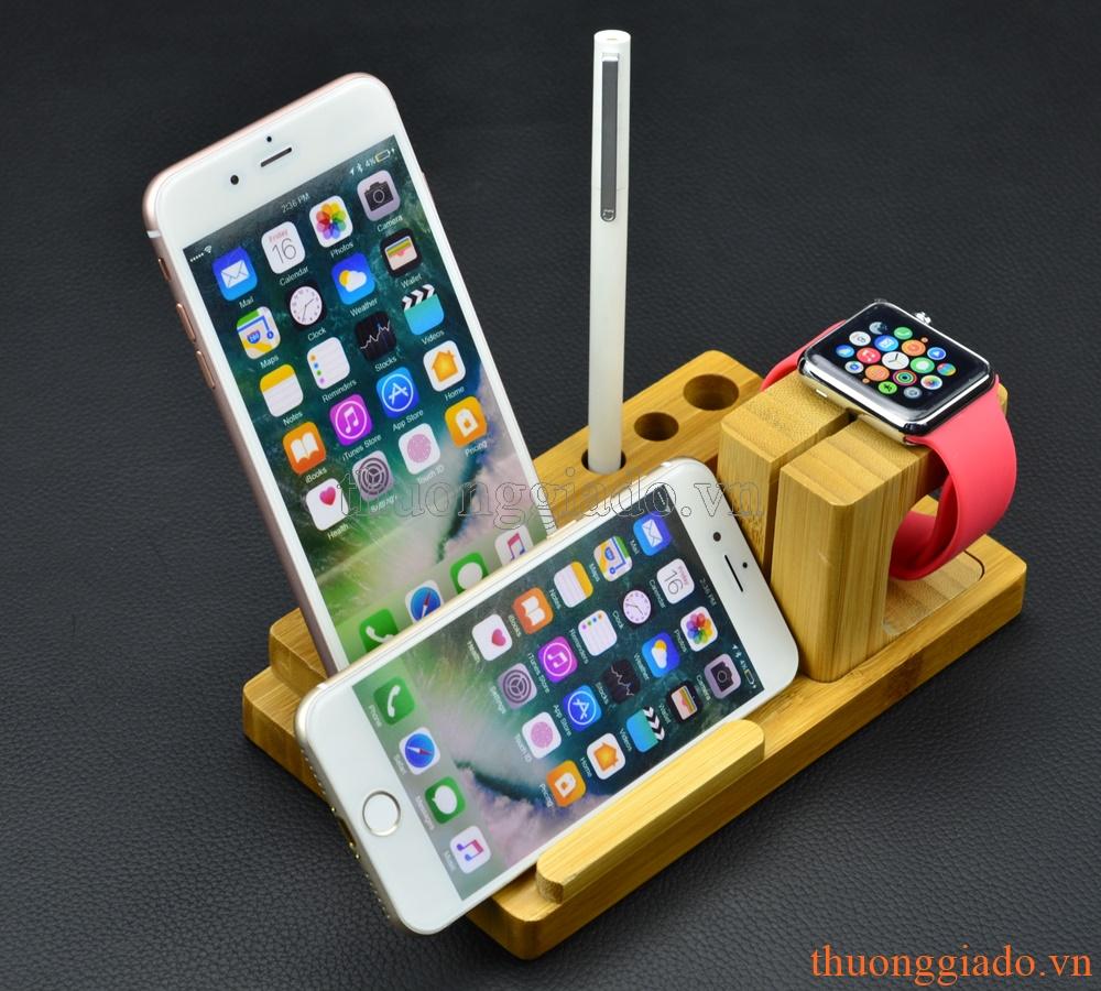 """Kệ tre giữ điện thoại & apple watch trên bàn, iPhone 7 Plus (5.5"""") (mẫu 4)"""