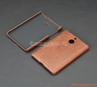 Ốp lưng nhựa giả da cá sấu cho BlackBerry Passport Silver (màu nâu)