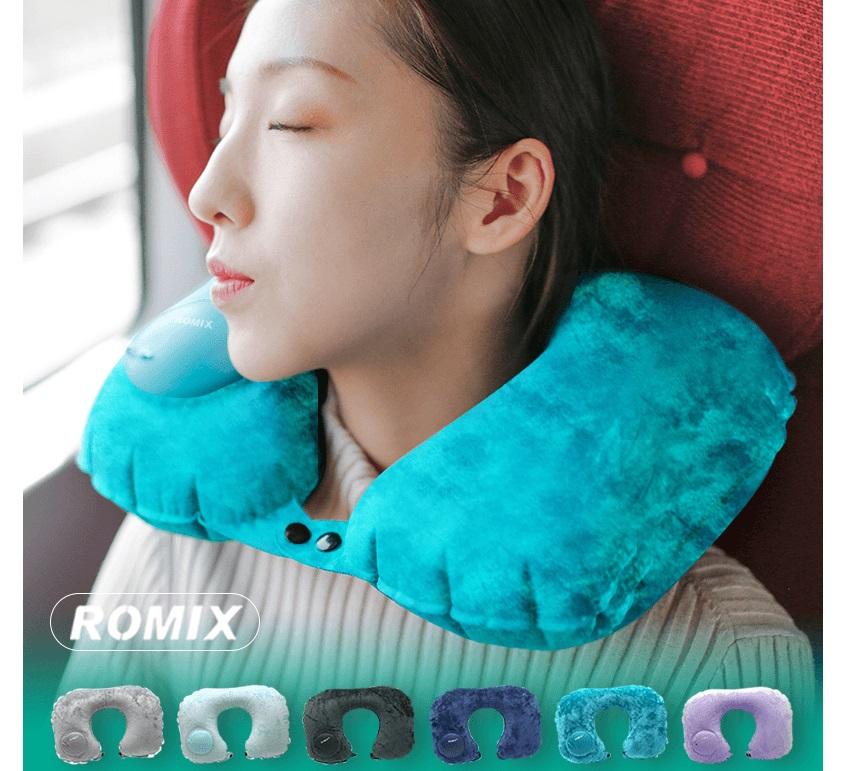 Gối hơi kê cổ ROMIX RH50 (gối kê cổ ngủ trên tàu bay, xe hơi, chất liệu nhung)