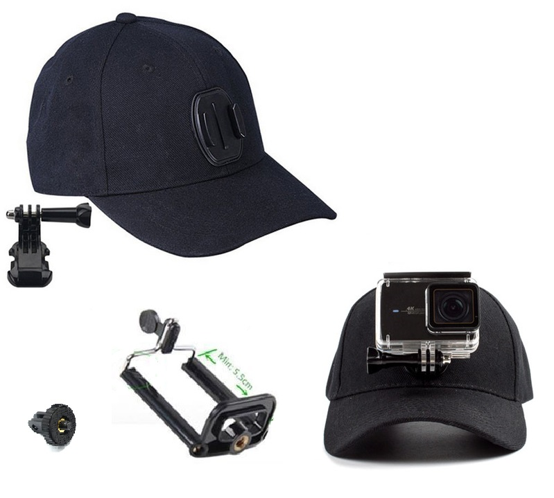 Mũ lưỡi trai gắn máy quay, camera hành trình, điện thoại