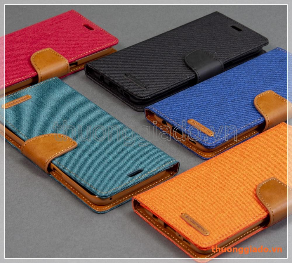 Bao Da Thi Trang Samsung Galaxy S8 Plus G955 Hiu Goospery Canvas Diary Case Gray