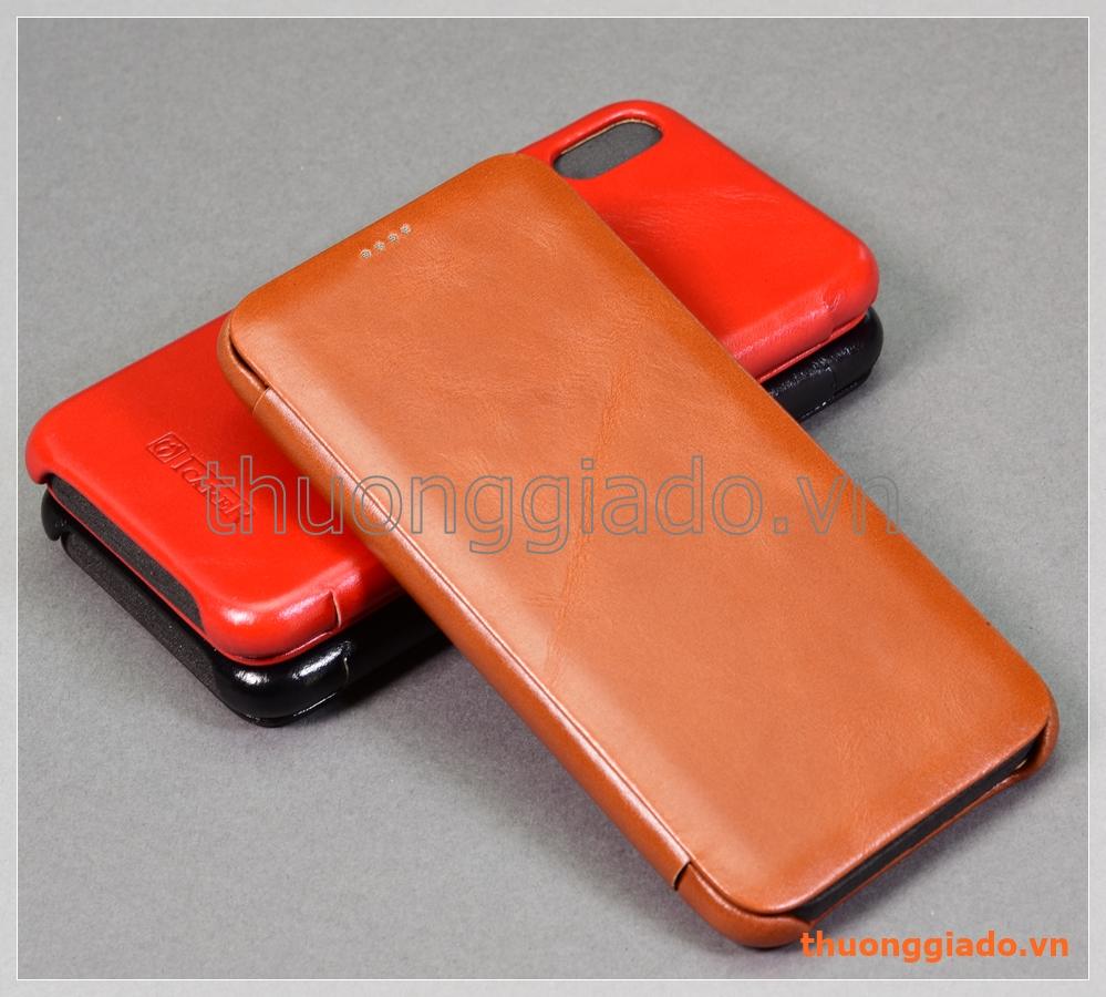 """Bao da cầm tay iPhone Xs Max (6.5""""), hiệu ICarer, da bò mịn"""