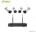 Qihoo 360 NVR D808 1080p, bộ camera giám sát với 01 đầu thu và 04 camera