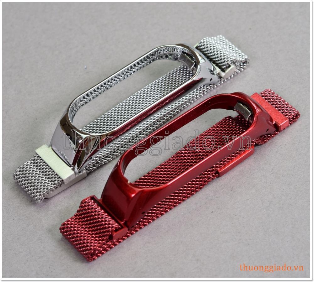 Dây vòng đeo Mi Band 4 (hợp kim, mắt lưới siêu nhỏ, khóa hít nam châm, mẫu 3)