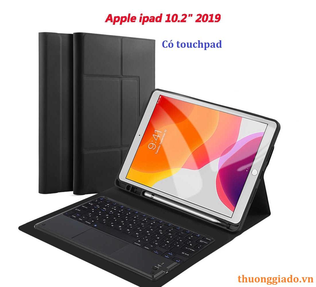 """Bàn phím bluetooth cho iPad 10.2"""" 2019 (có touchpad), kèm bao da cầm tay"""