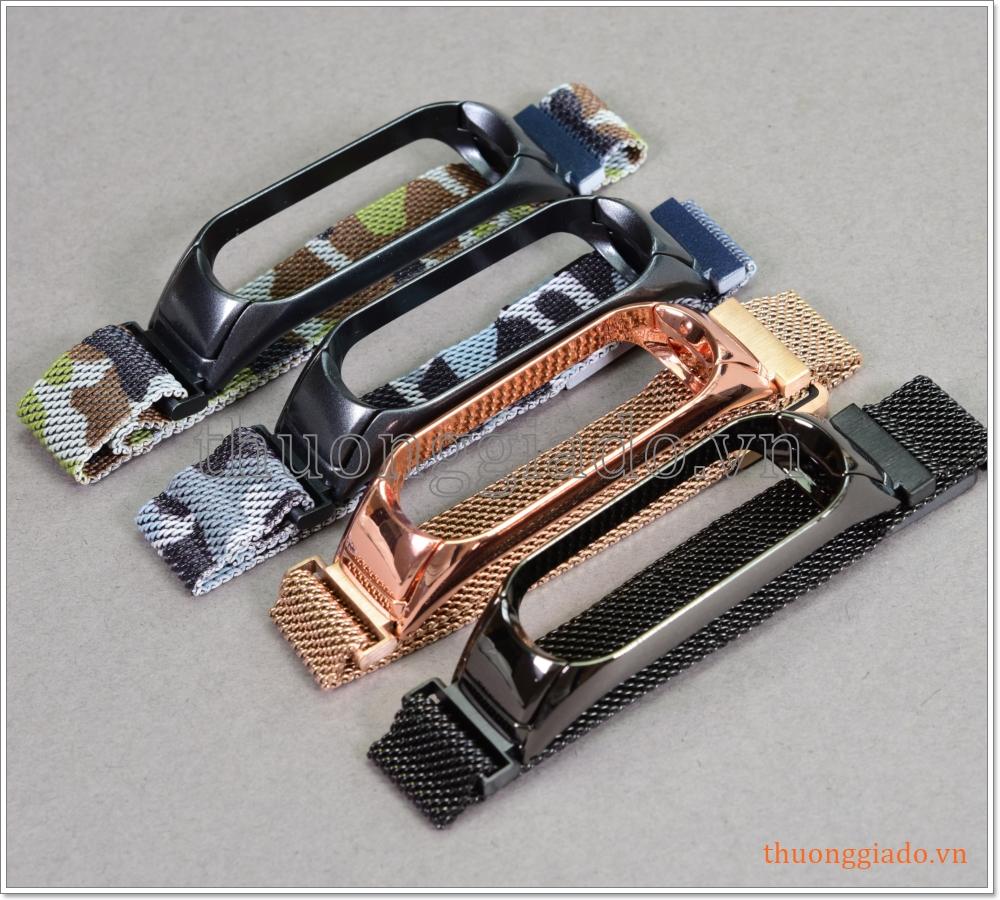 Dây vòng đeo tay Mi Band 4 (hợp kim, khóa hít nam châm, mắt lưới siêu nhỏ)