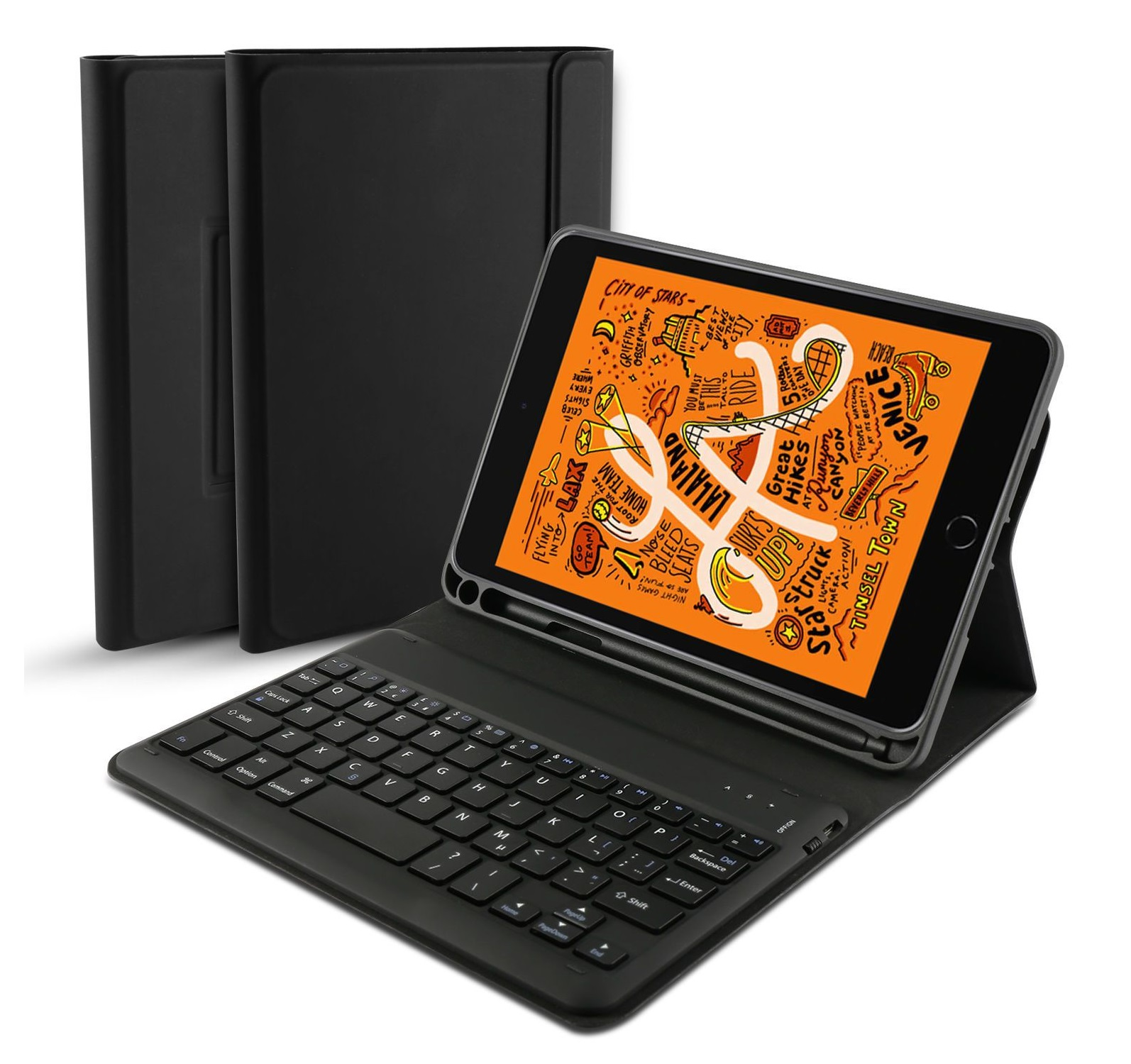 Bàn phím bluetooth iPad mini 5, kèm bao da, có ngăn để bút