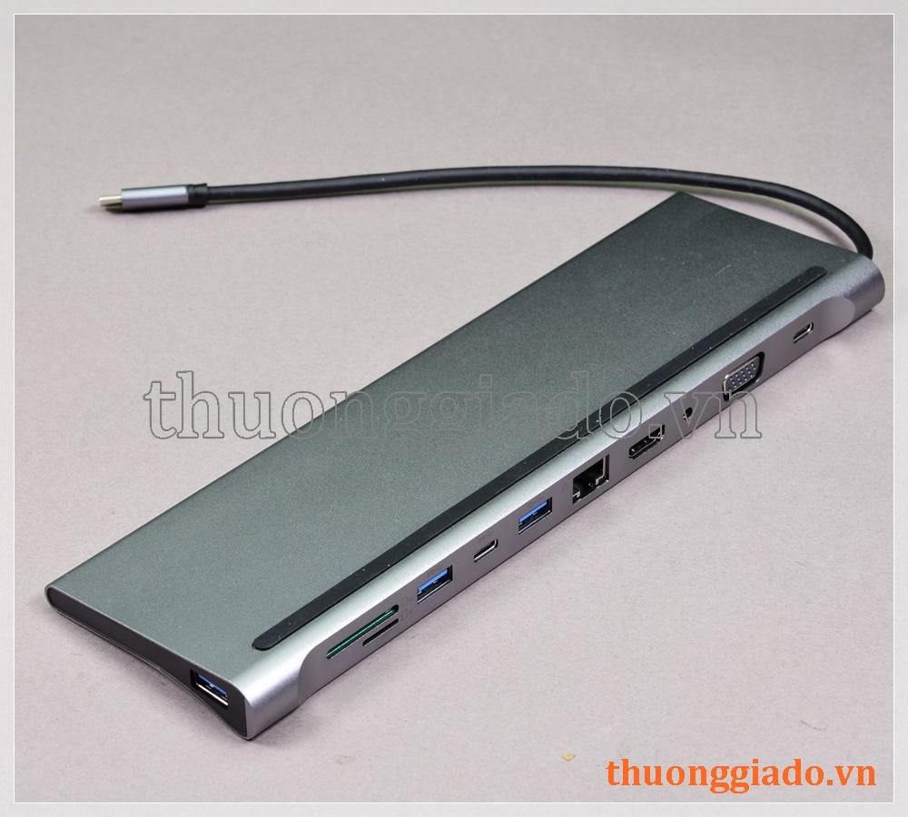 Cáp chuyển đổi usb-c ra đầu đa chức năng (11 trong 1) HDMI/VGA/USB/ETHERNET/3.5MM
