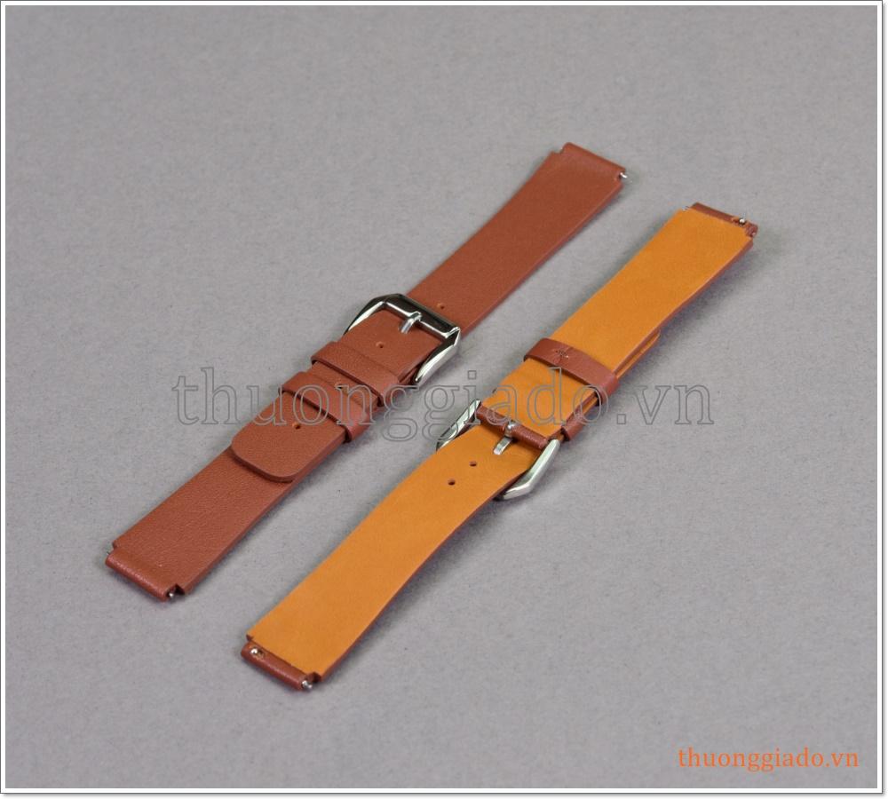 Dây đồng hồ Huawei Watch (18mm), dây da bò màu nâu