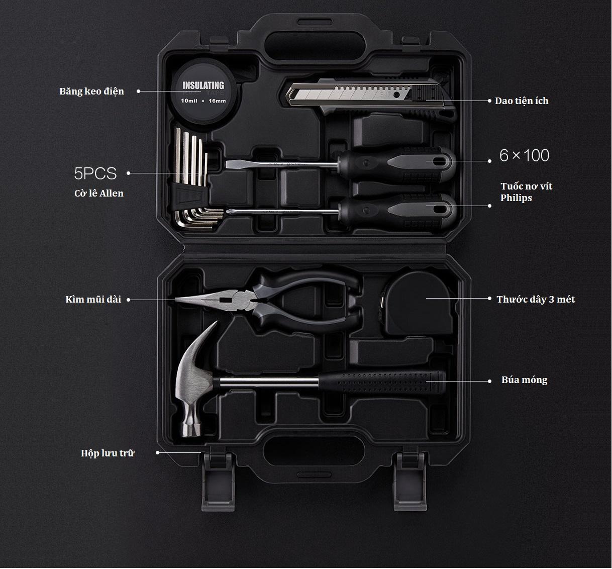 Bộ dụng cụ sửa chữa gia đình JIUXUN (12 trong 1), Xiaomi phân phối