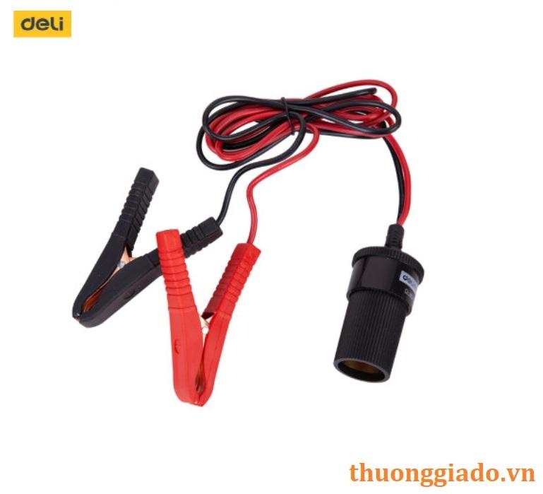 Dây kẹp đầu ắc quy chuyển đổi sang cổng cắm tẩu ô tô (deli DL8070,1m,15A)