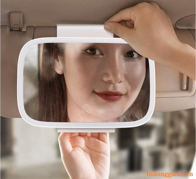 Gương trang điểm trên xe hơi viền tích hợp đèn led cảm ứng Baseus CRBZJ01