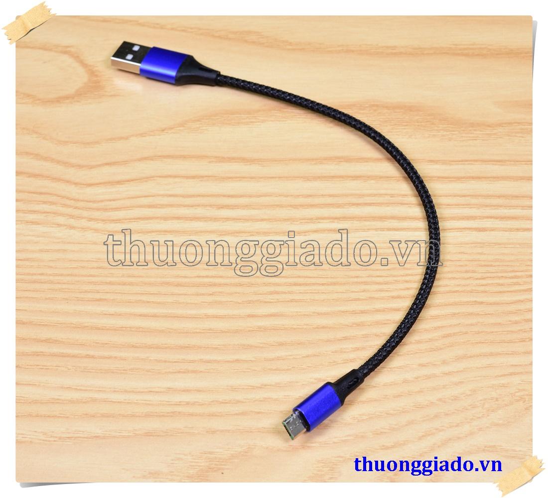 Cáp sạc micro usb loại ngắn vỏ bọc vải dù, hỗ trợ sạc nhanh (23cm, 27cm, 2.1A)
